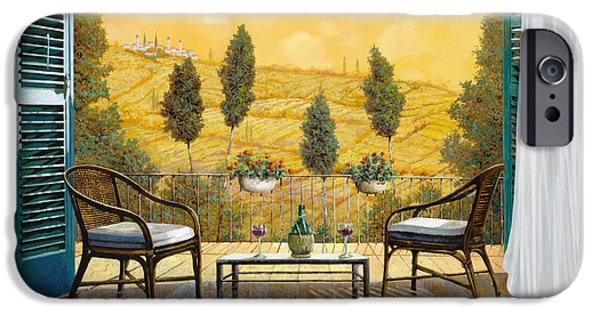 Chair Paintings iPhone Cases - due bicchieri di Chianti iPhone Case by Guido Borelli