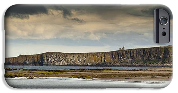 Sand Castles iPhone Cases - Dunstanburgh Castle On A Hill Under A iPhone Case by John Short