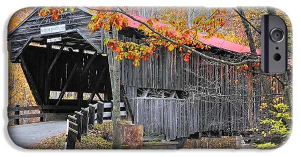 New Hampshire Fall Scenes iPhone Cases - Durgin Covered Bridge - New Hampshire  iPhone Case by Thomas Schoeller