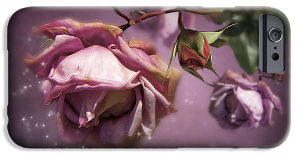 Close Up Floral Mixed Media iPhone Cases - Dusky Pink Roses iPhone Case by Svetlana Sewell