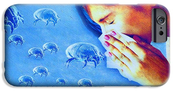 Intolerance iPhone Cases - Dust Mite Allergy, Conceptual Artwork iPhone Case by Hannah Gal