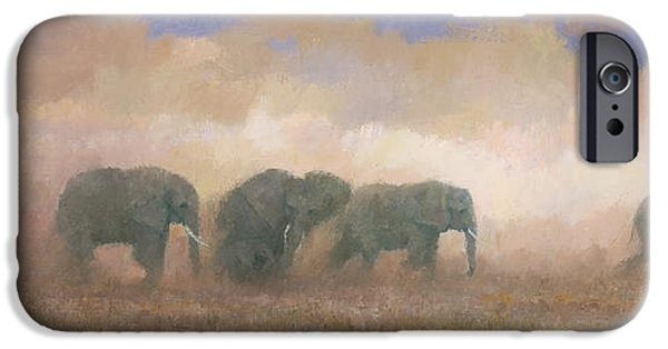 Elephants iPhone Cases - Dust Riders iPhone Case by Steve Mitchell