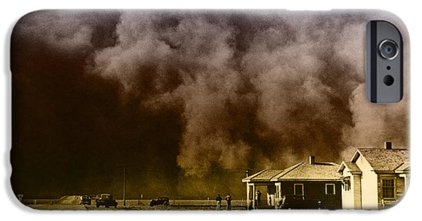 Color Enhanced iPhone Cases - Dust Storm, 1930s iPhone Case by Omikron