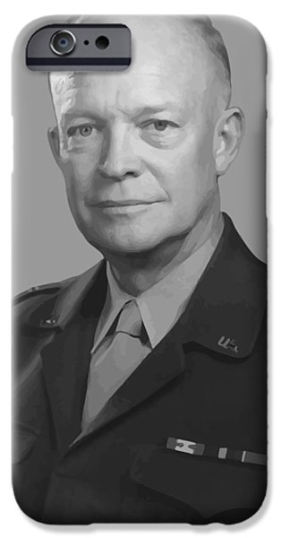 U.s History iPhone Cases - Dwight D. Eisenhower  iPhone Case by War Is Hell Store