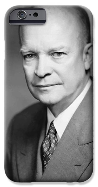 U.s History iPhone Cases - Dwight Eisenhower iPhone Case by War Is Hell Store