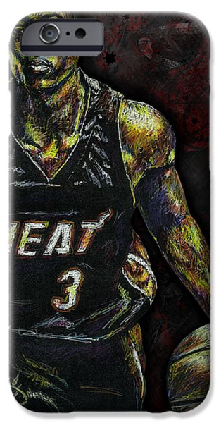Color Drawings iPhone Cases - Dwyane Wade iPhone Case by Maria Arango