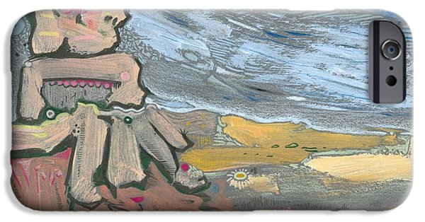 Moonscape Drawings iPhone Cases - Dying in the Breeze iPhone Case by Ralf Schulze