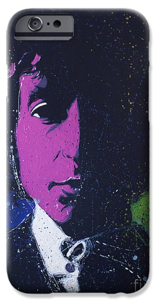 Bob Dylan Paintings iPhone Cases - Dylan iPhone Case by Chris Mackie