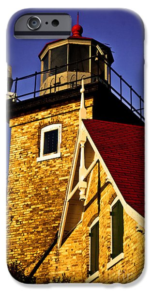 Eagle Bluff Lighthouse of Door County iPhone Case by Shutter Happens Photography