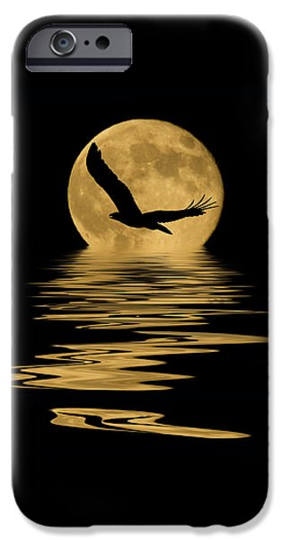 Evening Mixed Media iPhone Cases - Eagle in the Moonlight iPhone Case by Shane Bechler