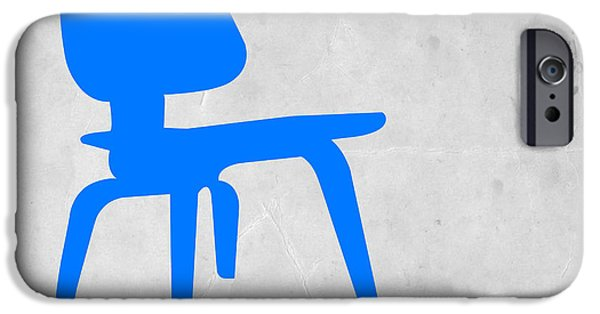 Chair Digital iPhone Cases - Eames blue chair iPhone Case by Naxart Studio