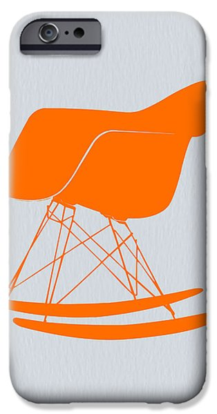 Camera iPhone Cases - Eames Rocking chair orange iPhone Case by Naxart Studio