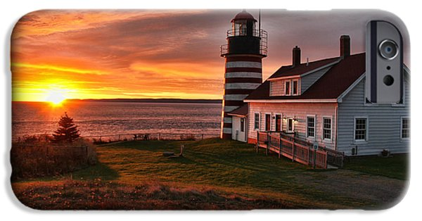 West Quoddy Head Lighthouse iPhone Cases - Earliest Sunrise in the United States iPhone Case by Jack Schultz