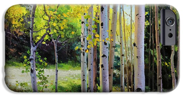 Breathtaking iPhone Cases - Early Autumn Aspen iPhone Case by Gary Kim