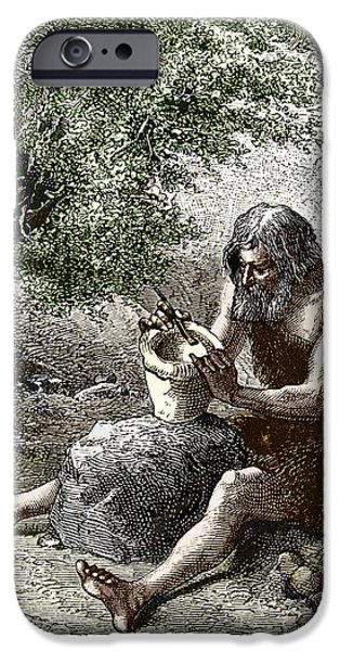 Early Human Making Pottery iPhone Case by Sheila Terry