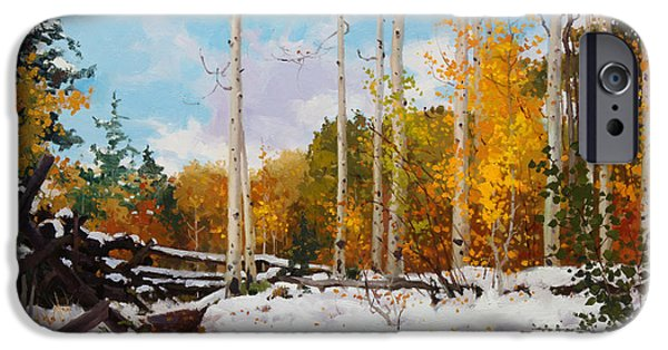 National Park Paintings iPhone Cases - Early snow of Santa Fe National Forest iPhone Case by Gary Kim