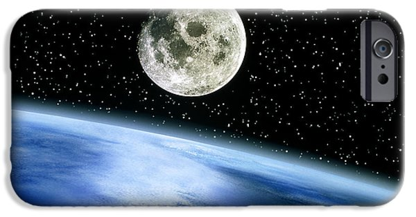 Sea Moon Full Moon Photographs iPhone Cases - Earth And Moon iPhone Case by Julian Baum