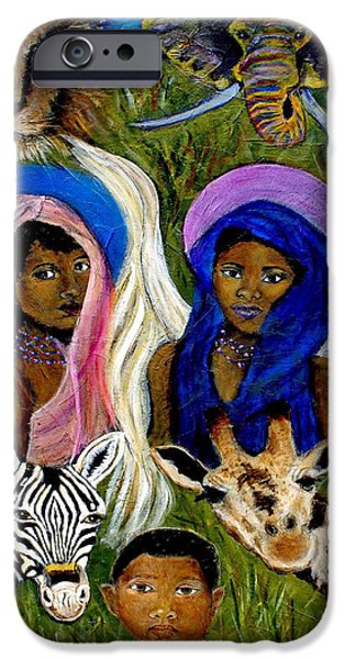 Spiritual Portrait Of Woman iPhone Cases - Earthangels Abeni and Adesina From Africa iPhone Case by The Art With A Heart By Charlotte Phillips