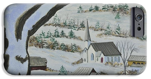 Winter Scene iPhone Cases - East Orange Vermont iPhone Case by Charlotte Blanchard