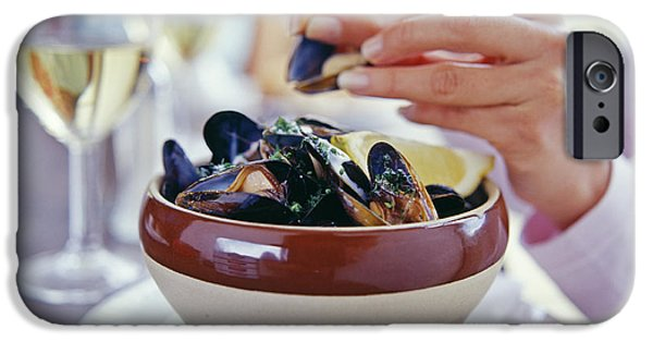 Dexterity iPhone Cases - Eating Mussels iPhone Case by David Munns
