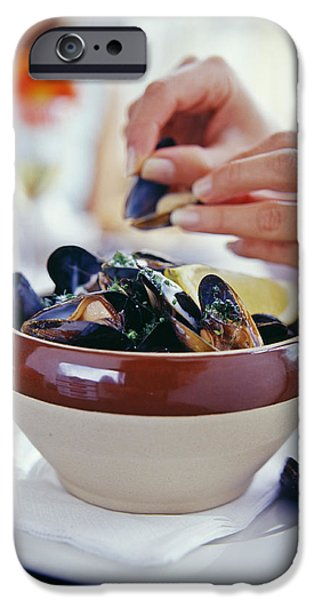 Eating Mussels iPhone Case by David Munns