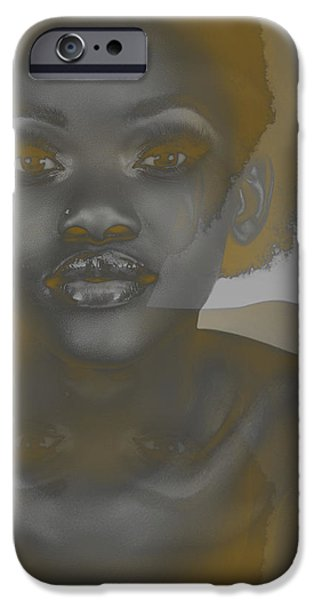 Africans iPhone Cases - Ebony iPhone Case by Naxart Studio