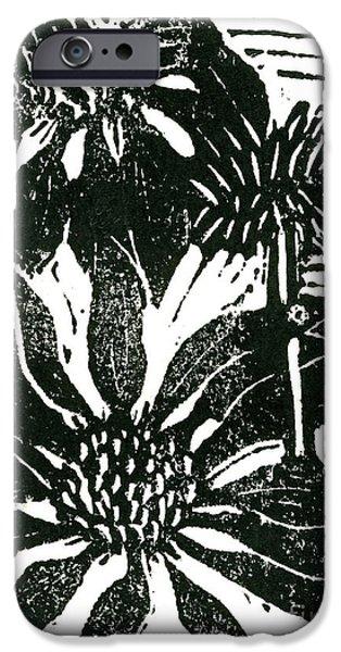 Echinacea block print iPhone Case by Ellen Miffitt