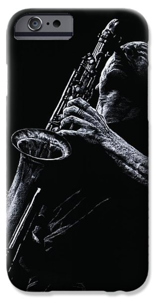 Music Pastels iPhone Cases - Eclectic Sax iPhone Case by Richard Young