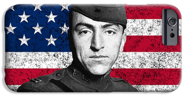 Flag iPhone Cases - Eddie Rickenbacker and The American Flag iPhone Case by War Is Hell Store