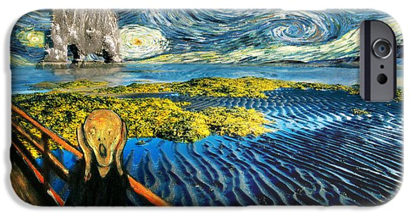 The Scream iPhone Cases - Edvard Meets Vincent Posters iPhone Case by Gravityx Designs