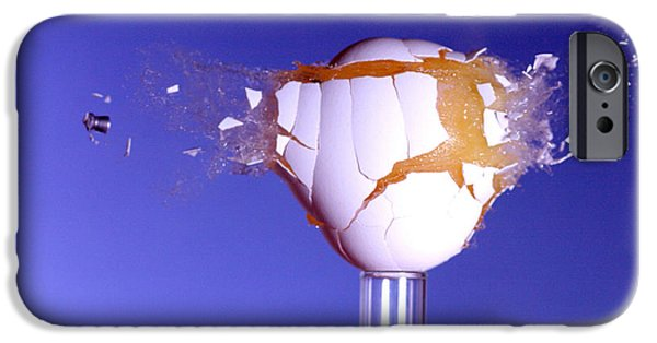 Break Fast iPhone Cases - Egg Hit By A Bullet iPhone Case by Ted Kinsman