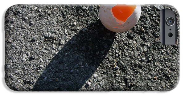 Asphalt iPhone Cases - Egg with shadow iPhone Case by Matthias Hauser