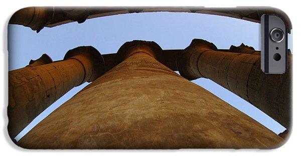 Karnak iPhone Cases - Egypt Luxor Pillars iPhone Case by Bob Christopher