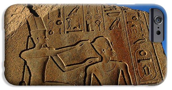 Karnak iPhone Cases - Egyptian Hieroglyphics Temple Of Karnak iPhone Case by Bob Christopher