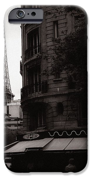 Eiffel Tower Black and White 2 iPhone Case by Andrew Fare