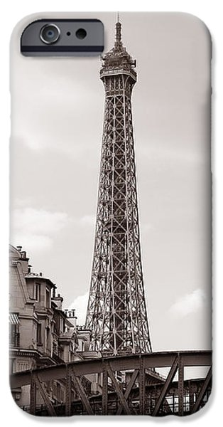 Eiffel Tower Black and White 3 iPhone Case by Andrew Fare