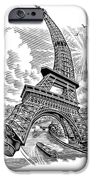 Eiffel Tower, Conceptual Artwork iPhone Case by Bill Sanderson