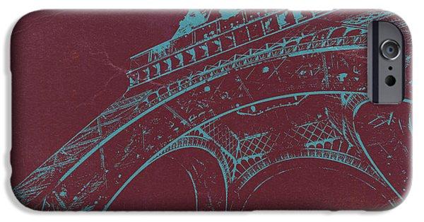 Paris Digital Art iPhone Cases - Eiffel Tower iPhone Case by Naxart Studio