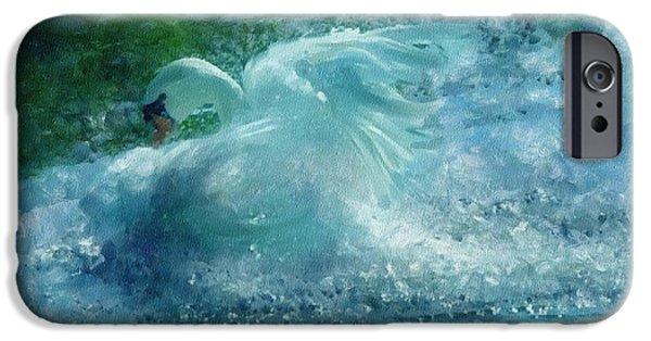 Bathing Mixed Media iPhone Cases - Ein Schwan - The Swan iPhone Case by Georgiana Romanovna