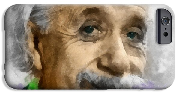 Gray Hair Digital Art iPhone Cases - Einstein iPhone Case by Anthony Caruso