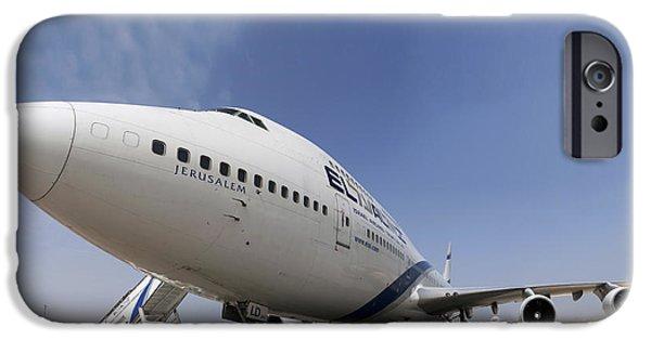 Boeing 747 iPhone Cases - El-Al Boeing 747-400 iPhone Case by Nir Ben-Yosef