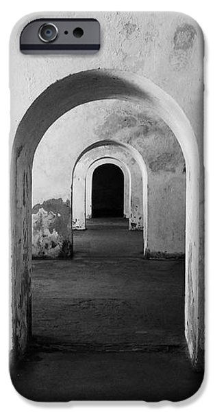 El Morro Fort Barracks Arched Doorways San Juan Puerto Rico Prints Black and White iPhone Case by Shawn O'Brien