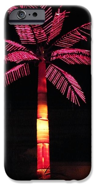 Palm Tree Greeting Cards iPhone Cases - Electric Palm iPhone Case by Florene Welebny