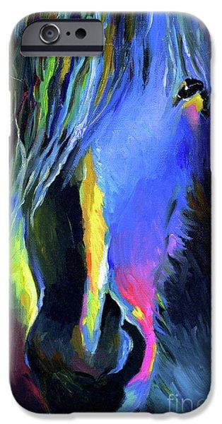 electric Stallion horse painting iPhone Case by Svetlana Novikova
