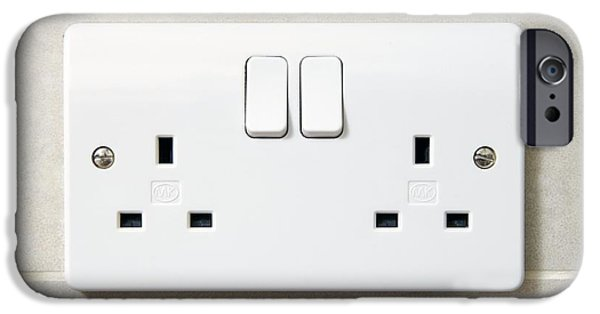Electrical Socket iPhone Cases - Electric Wall Socket iPhone Case by Johnny Greig