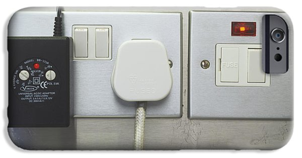 Electrical Equipment iPhone Cases - Electrical Plugs iPhone Case by Carlos Dominguez