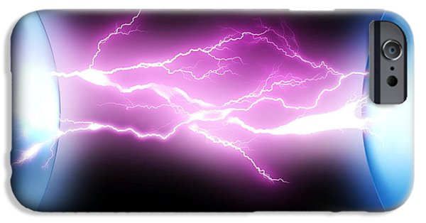 Sparking iPhone Cases - Electrical Sparks iPhone Case by Pasieka