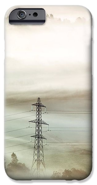 Electricity Pylon In Fog iPhone Case by Duncan Shaw
