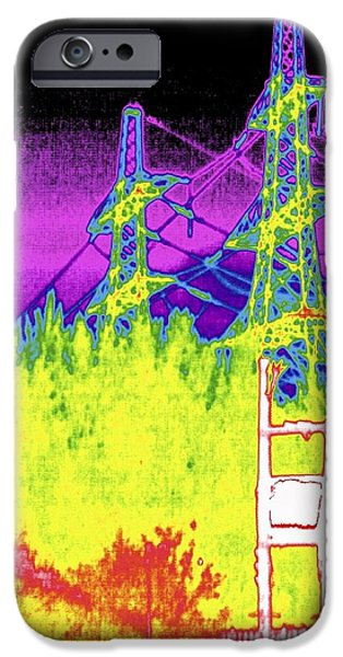 False Power iPhone Cases - Electricity Pylons, Thermogram iPhone Case by Tony Mcconnell