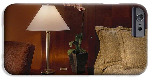 Night Lamp iPhone Cases - Elegant Bedroom iPhone Case by Robert Pisano